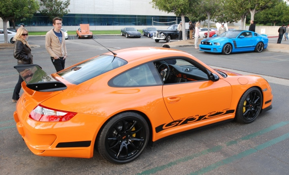 Orange 2007 Porsche 911 GT3RS_3/4 rear side view_ Cars&Coffee/Irvine_January 4, 2014