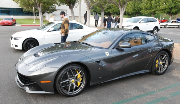 Charcoal gray (grigio silverstone) Ferrari F12 Berlinetta__3/4 side view_Cars&Coffee/Irvine_January 4, 2014