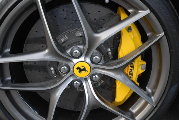 Charcoal gray (grigio silverstone) Ferrari F12 Berlinetta__wheel & brake details_Cars&Coffee/Irvine_January 4, 2014