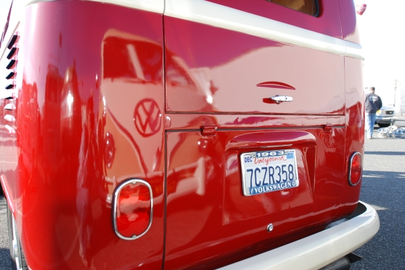 Red & white 1963 type 2 father & son project bus _ 3/4 rear view_OCTO Winter meet_Long Beach , CA_February 8, 2014