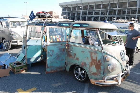 Early 1960s deluxe bus_turquoise & cream_3/4 front view_OCTO Winter meet_Long Beach , CA_February 8, 2014