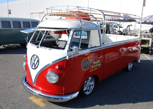 1958 VW Type 2 single cab_3/4 front view_OCTO Winter meet_Long Beach , CA_February 8, 2014