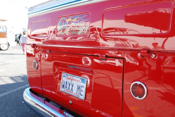 1958 VW Type 2 single cab_rear view & reflections_OCTO Winter meet_Long Beach, CA_February 8, 2014