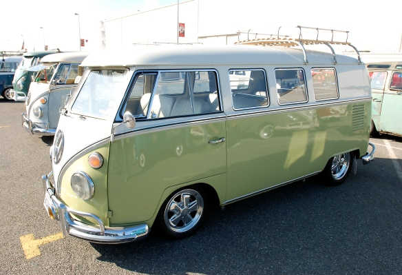 Early 1960s Microbus, pale green & white with Porsche alloys_3/4 front view & reflections_OCTO Winter meet_Long Beach , CA_February 8, 2014