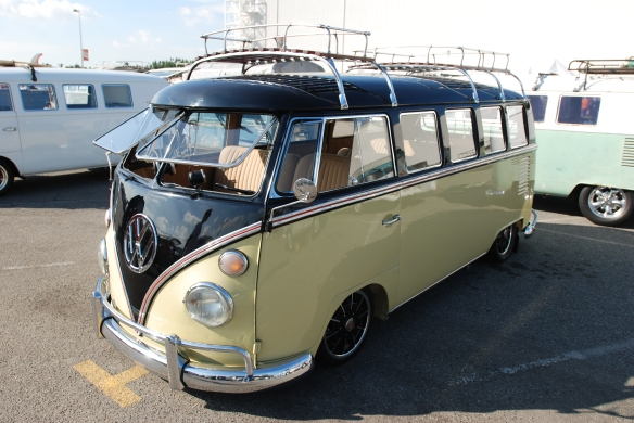 Early 1960s VW Type 2 bus, black & light tan_ 3/4 front view_OCTO Winter meet_Long Beach, CA_February 8, 2014