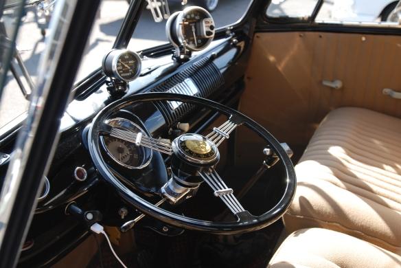 Early 1960s VW Type 2 bus, black & light tan_ interior details_OCTO Winter meet_Long Beach, CA_February 8, 2014