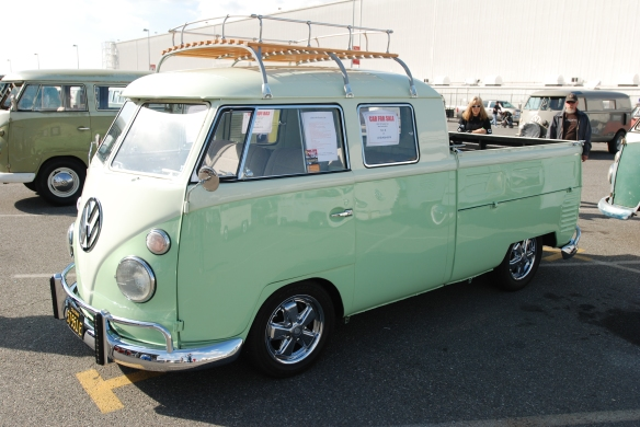 1963 2 tone lime green type 2 double cab_3/4 front view_OCTO Winter meet_Long Beach , CA_February 8, 2014