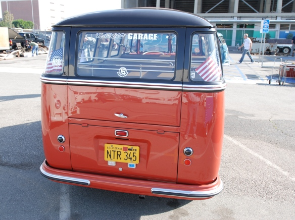 Post 1955 Microbus_Sealing wax red and chestnut brown_rear view & reflections_OCTO Winter meet_Long Beach , CA_February 8, 2014