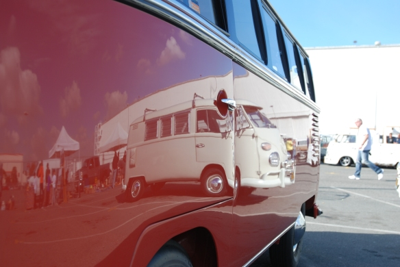 Post 1955 Microbus_Sealing wax red and chestnut brown_side reflections_OCTO Winter meet_Long Beach , CA_February 8, 2014