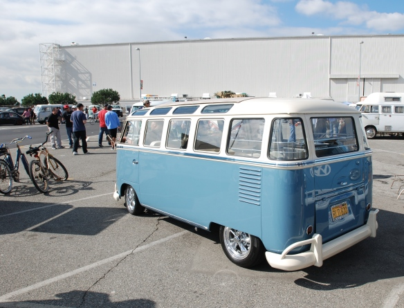 Late 1950s Type 2 in Dove Blue & Linen white_ 3/4 rear view w/reflections_OCTO Winter meet_Long Beach , CA_February 8, 2014