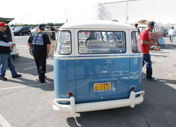 Late 1950s Type 2 in Dove Blue & Linen white_rear view w/reflections_OCTO Winter meet_Long Beach , CA_February 8, 2014