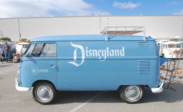 Dove Blue late 1950s Type 2 panel van_side view w/ Disneyland logo_OCTO Winter meet_Long Beach , CA_February 8, 2014