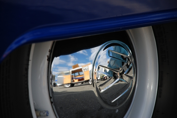 Blue bus fender and gray bus reflection in hubcap_OCTO Winter meet Long Beach , CA_February 8, 2014