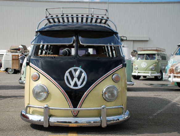 Early 1960s VW Type 2 bus, black & light tan_ front view_OCTO Winter meet_Long Beach , CA_February 8, 2014