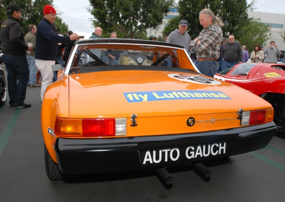 1970 Signal Orange Lufthansa Porsche 914-6 GT with Porsche race cars_ rear view_cars&coffee/irvine_january 25, 2014
