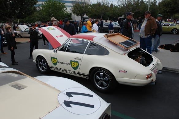 1967 Porsche 911R #001_3/4 side view with hood and rear deckled opened _cars&coffee/irvine_january 25, 2014