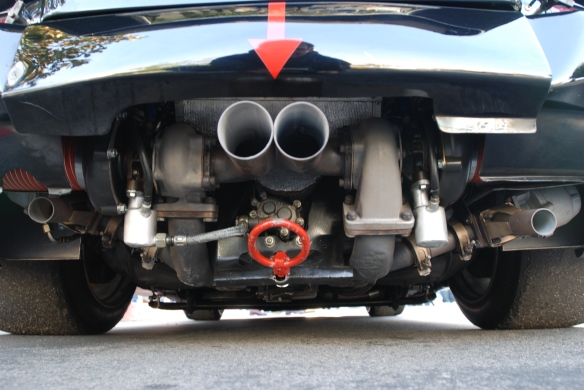 Interscope Racing 1978 Porsche 935_bugs eye view of twin turbo motor & dual wastegates_cars&coffee/irvine_February 15, 2014