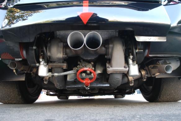 Interscope Racing 1978 Porsche 935_bugs eye view of twin turbo motor & dual wastegates_cars&coffee/irvine_February 15, 2014