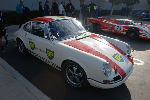 1967 Porsche 911R #001_ 3/4 front view with 917 in background _cars&coffee/irvine_january 25, 2014