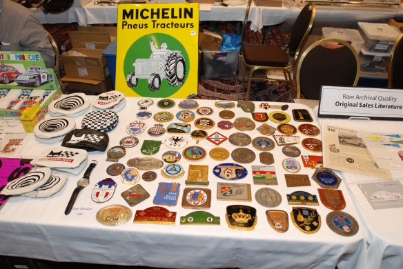 Grill /badge bar plaques_ display table_ LA Hilton Hotel & LA Airport Porsche & VW literature and Memorabilia Show_March 2, 2014