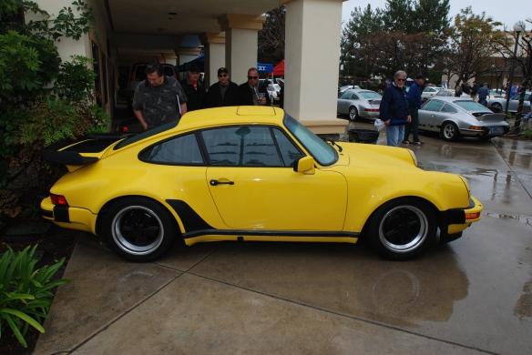 Day glow yellow Porsche 930 turbo_side view & reflections_Phoenix Club Car show & Swap_March 3, 2014
