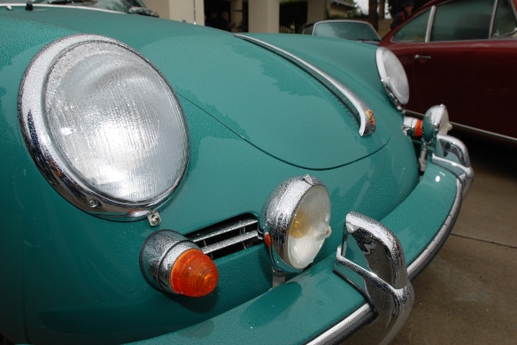 Turquoise green Porsche 356_3/4 front detail view with raindrops_Phoenix Club Car show & Swap_March 3, 2014