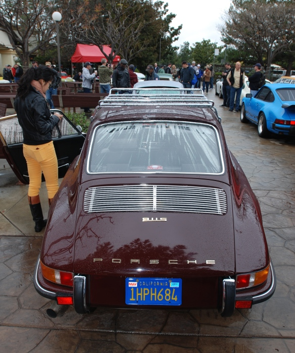 Burgundy long hood Porsche 911S_rear view with raindrops_Phoenix Club Car show & Swap_March 3, 2014