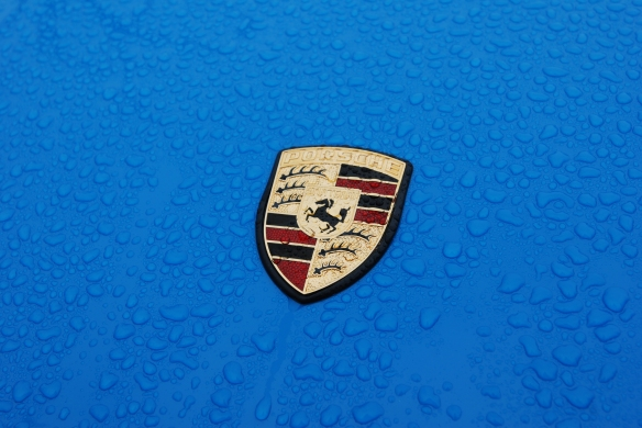 Bright blue Porsche 911 Carrera_ hood badge and raindrop detail_Phoenix Club Car show & Swap_March 3, 2014