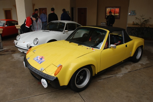 Porsche GTs_white 1972 911 GT, yellow 1970 914-6 GT_3/4 front view_Phoenix Club Car show & Swap_March 3, 2014