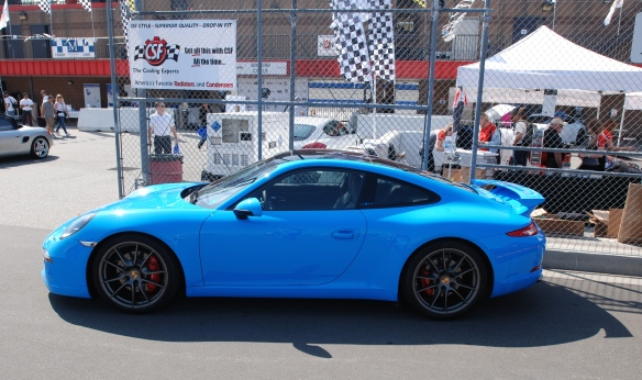 2013 Riviera Blue Porsche 991 w/ aerokit_side view pit row_California Festival of Speed_4/5/14