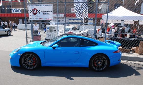 2013 Riviera Blue Porsche 991 w/ aerokit_side view pit row_California Festival of Speed_4/5/14