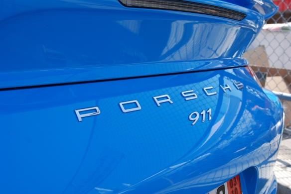 2013 Riviera Blue Porsche 991 w/ aerokit_rear deck reflections_California Festival of Speed_4/5/14