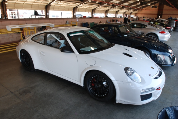 TruSpeeds white Porsche 997 GT3 Cup car for sale_3/4 front view in garage _California Festival of Speed_4/5/14