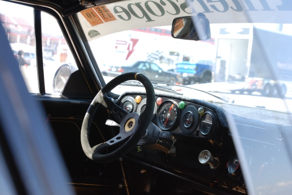 TruSpeeds restored,1978 Interscope racing Porsche 935 twin turbo_dashboard shot thru window _California Festival of Speed_4/5/14