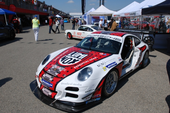 bbi Autosport display_GT3 Cup car, Jeff Zwart's Pike peak car_3/4 front view_California Festival of Speed_4/5/14