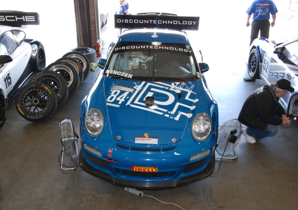 Blue discountechnology type 997 GT3 Cup car_ front view in garage _California Festival of Speed_4/5/14
