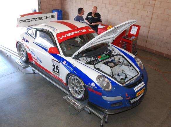 Werks II # 25 Porsche type 997 GT3 Cup car_ 3/4 front view_on corner balance fixture in garage _California Festival of Speed_4/5/14
