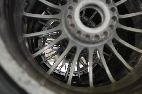Porsche GT 3 Cup car wheels_Wheel details_tire rack in garage _California Festival of Speed_4/5/14