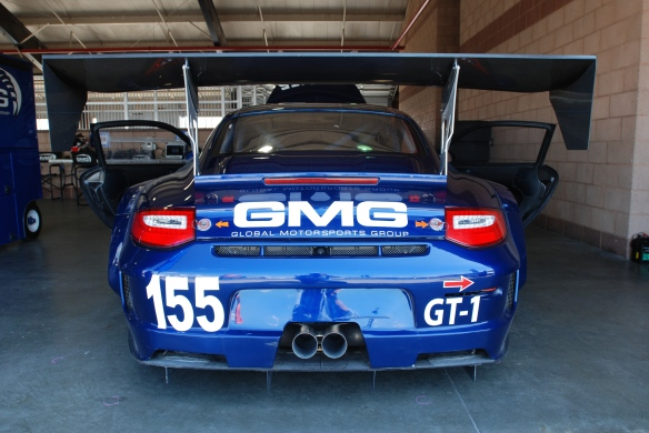 Blue GMG #155, type 997 Porsche GT 3 Cup_rear view  in garage _California Festival of Speed_4/5/14