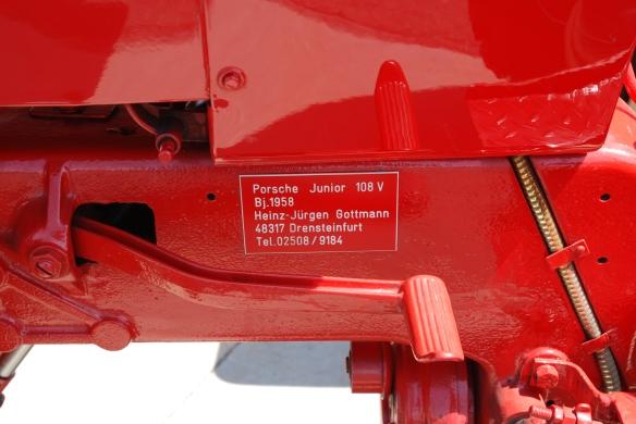Porsche Junior tractor_data plaque_paddock area _California Festival of Speed_4/5/14