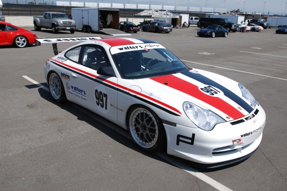 White #997, Type 996 Porsche GT3 Cup car, with red & black stripes_3/4 front view /in trailer area _California Festival of Speed_4/5/14