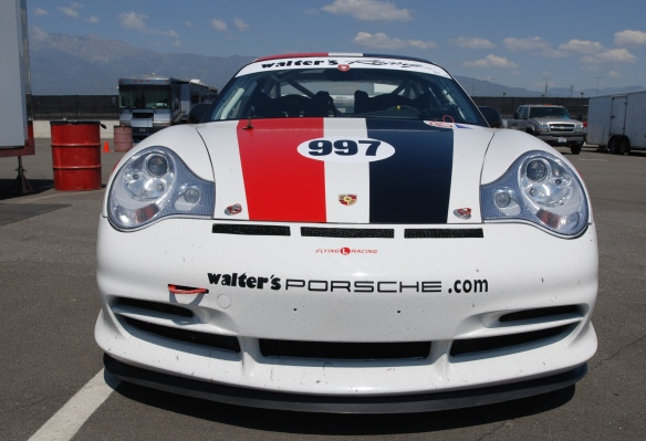 White #997, Type 996 Porsche GT3 Cup car, with red & black stripes_front view /in trailer area _California Festival of Speed_4/5/14