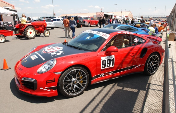 2014 Guards Red Porsche 991 Turbo S_3/4 front view ,drivers side pit row_California Festival of Speed_4/5/14