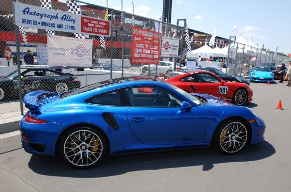 2014 Sapphire Blue metallic Porsche 991 Turbo S_3/4 rear view pit row_California Festival of Speed_4/5/14