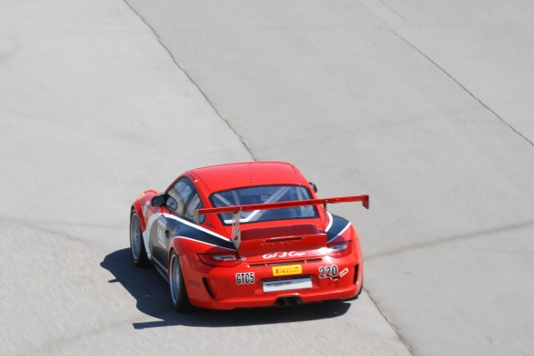 PCA club racing series_ Red GT3Cup entering track_California Festival of Speed_4/5/14