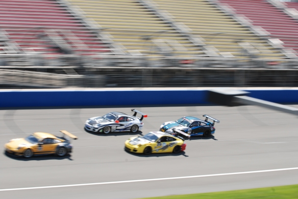 PCA club racing series_ GT3 Cup cars _start of first lap,  group shot_California Festival of Speed_4/5/14