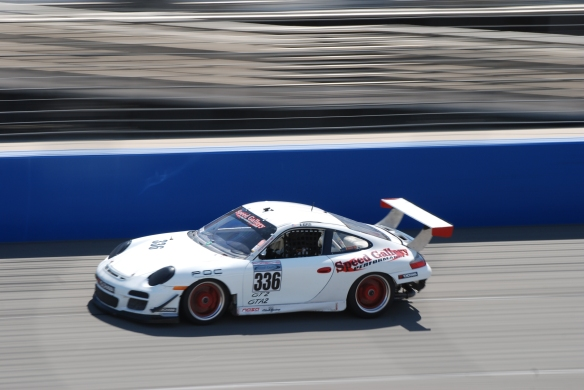 PCA club racing series_ GT3 Cup cars _White #336 GT3 at speed_California Festival of Speed_4/5/14