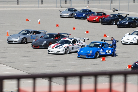 bbi autosport sponsored time trial_Porsches queued up on the grid_California Festival of Speed_4/5/14