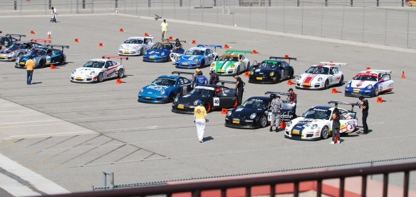 Pirelli GT3 Cup races_ GT3 cup cars queued on the grid, overall shot_California Festival of Speed_4/5/14