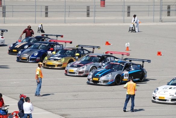 Pirelli GT3 Cup races_ GT3 cup cars queued on the grid_California Festival of Speed_4/5/14